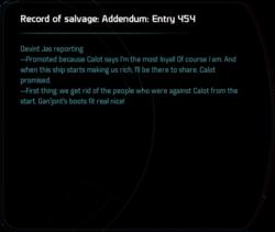 Record of salvage: Addendum: Entry 454