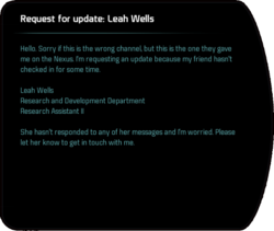 Request for update: Leah Wells