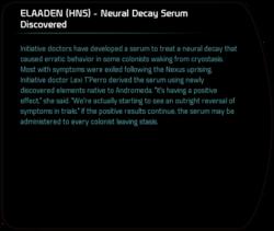 ELAADEN (HNS) - Neural Decay Serum Discovered - Mass Effect