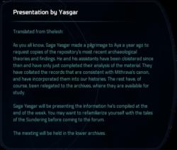 Presentation by Yasgar