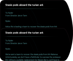 Stasis pods aboard the turian ark