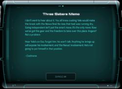 Three Sabers Memo