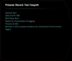 Prisoner Record: Tesi Fasynth