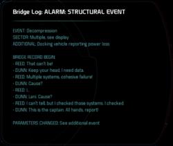 Bridge Log: ALARM: STRUCTURAL EVENT