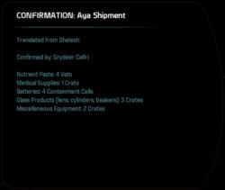 CONFIRMATION: Aya Shipment
