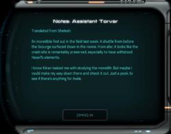 Notes: Assistant Torvar