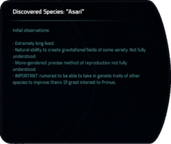 "Discovered Species: ""Asari"""