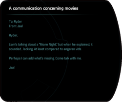 A communication concerning movies