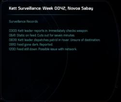 Kett Surveillance: Week 0042, Novoa Sabay