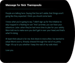 Message for Nick Thaniopoulis