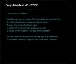 Cargo Manifest VEJ-97335