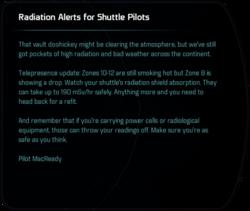 Radition Alerts for Shuttle Pilots