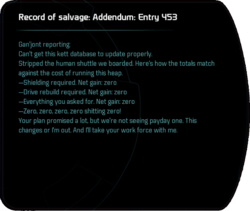 Record of salvage: Addendum: Entry 453
