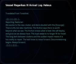Vessel Regarikas III Arrival Log: Heleus