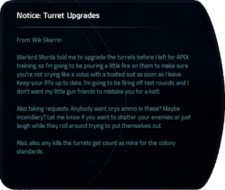 Notice: Turret Upgrades