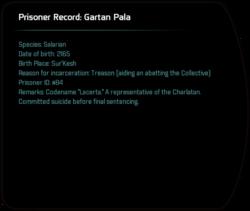 Prisoner Record: Gartan Pala