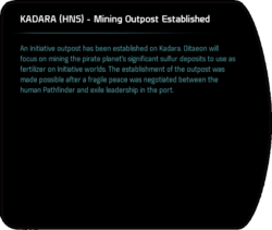 KADARA (HNS) - Mining Outpost Established