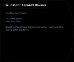 Re: REQUEST: Equipment Upgrades