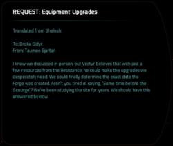 REQUEST: Equipment Upgrades