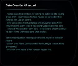 Data Override: Kill record: