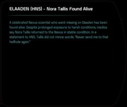 ELAADEN (HNS) - Nora Tallis Found Alive