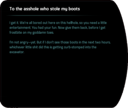 To the asshole who stole my boots