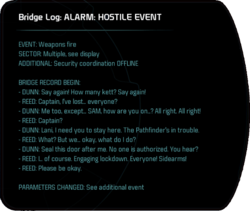 Bridge Log: ALARM: HOSTILE EVENT