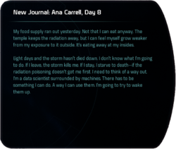 New Journal: Ana Carrell, Day 8 (terminal entry)