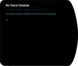 Re: Patrol Schedule