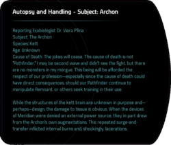 Autopsy and Handling - Subject: Archon