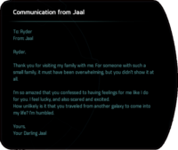Communication from Jaal - after Runs in the Family, romance.png