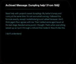 Archived Message: Dumpling help! (From Niilj) - Mass Effect