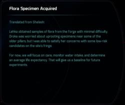 Flora Specimen Acquired