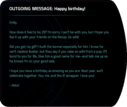 OUTGOING MESSAGE: Happy birthday!