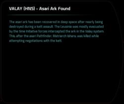 VALAY (HNS) - Asari Ark Found
