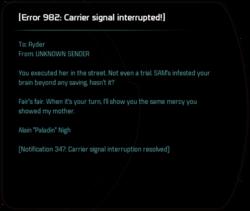 [Error 982: Carrier signal interrupted!]