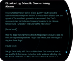 Dictation Log: Scientific Director Hainly Abrams