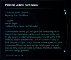Personal Update: Karin Miura