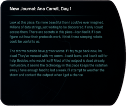 New Journal: Ana Carrell, Day 1 (terminal entry)