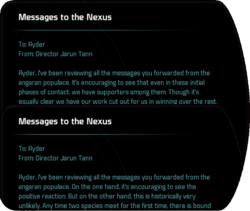 me andromeda messages to the nexus