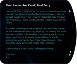 New Journal: Ana Carrell, Final Entry (terminal entry)