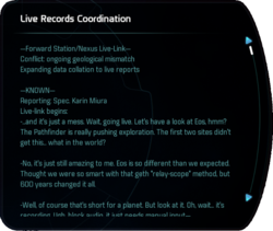 Live Records Coordination