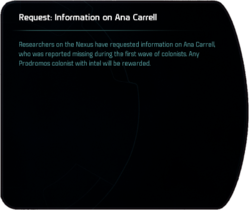 Request: Information on Ana Carrell