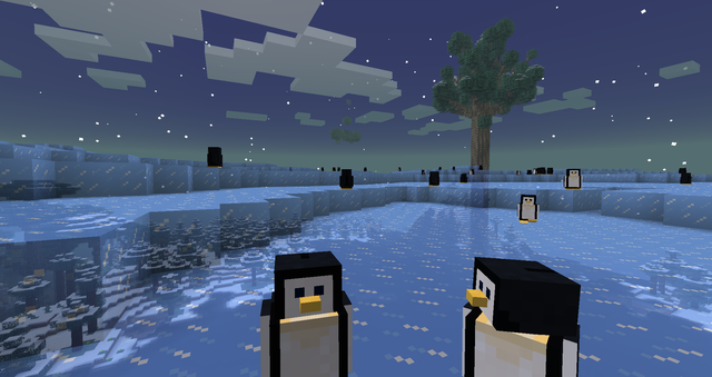 Ein Gletscher, mit Pinguinen