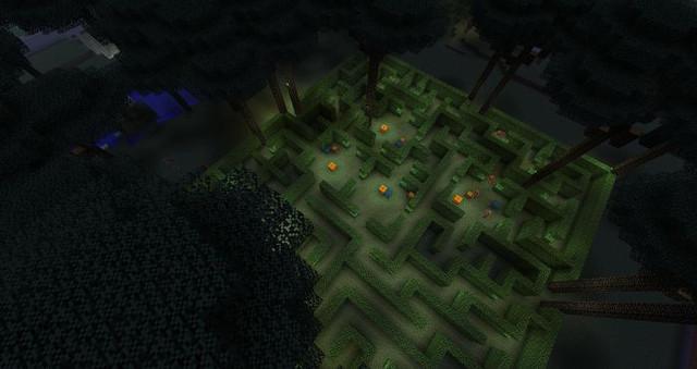 Ein Heckenlabyrinth aus der Luft