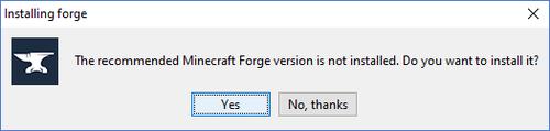 Hier wird nachgefragt, ob ihr die empfohlene Forge Version haben wollt.