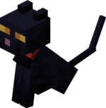Sitting Tamed Baby Black Cat with Red Collar.png