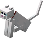 Sitting Tamed White Cat with Red Collar.png