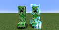 Charged creeper next to a normal creeper.png