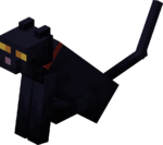 Sitting Tamed Black Cat with Red Collar.png